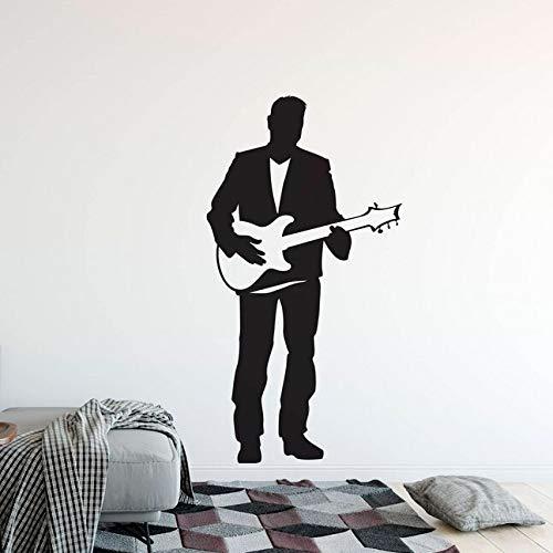 yaonuli Guitarra eléctrica Pegatinas de Pared Cantante con Guitarra calcomanías de Pared de Vinilo Home Music Club Guitarra Decorativa Cantante 232x75cm