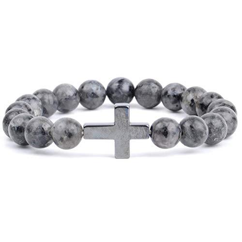 NoNo Religiöser christlicher Naturstein Afrika Türkis Perlen Armband Kreuz Charm Armreif Schmuck 20Cm Labradorit