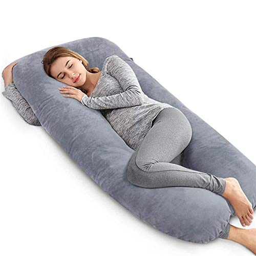 Almohada de embarazo, espuma viscoelástica, para todo el cuerpo, para mujeres embarazadas, para dormir de lado y aliviar el dolor de espalda, soporte para espalda, caderas, piernas, vientre, 61 x 31 p