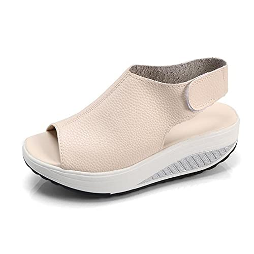 SHADIOA Sandalias de Mujer, cuñas Sandalias Sandalias con Boca de pez Sandalias Planas cómodas Zapatos de Playa con Punta Abierta para Mujer,Blanco,35