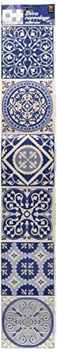 Décoration adhésive pour CARRELAGE 260533 Carreaux de Ciment, Polyvinyle, Bleu, 15 x 15 x 0,1 cm