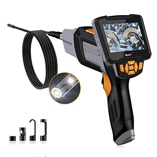 Endoscopio Industriale, AsperX Telecamera D'ispezione 8MM Portatile 1080P HD Doppia Fotocamera Frontale, Laterale a 6 Luci LED, Cavo da 16,4 Piedi, Impermeabile IP67, Scheda da 32 GB