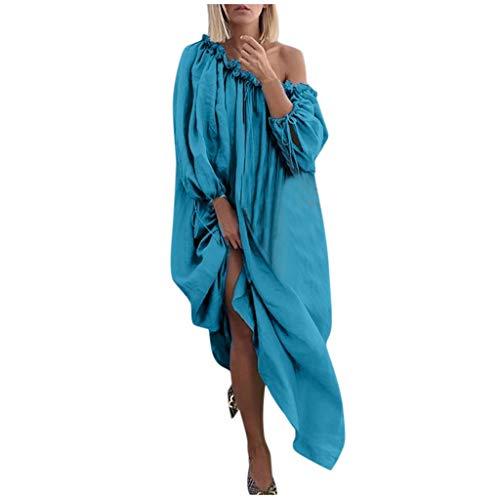 HeiHeiDa Vestido de estilo retro étnico para mujer, sin mangas, costuras de contraste, suelto y informal, dobladillo irregular, elegante, vestido de cóctel con falda plisada, azul, L
