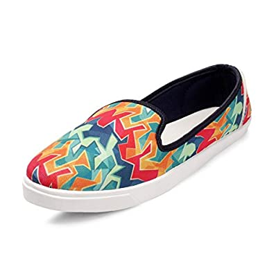 Meriggiarre Women Canvas/Fabric Lace-ups Digital Print Pattern Light Weight Casual Sneaker Shoes for Daily/Casual Wear -Multicolour