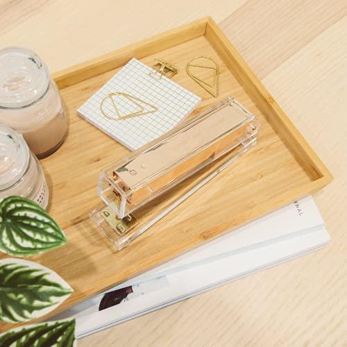 Gold Stapler for Desk - Cute Stapler for Office - Clear Acrylic Stapler - Desktop Designer Stapler - Elegant Desk Accessory, Trendy Novalty Stapler - Pretty Office Space - Lucite, Large Office Stapler Photo #4
