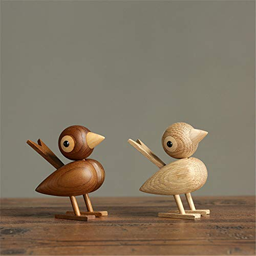 A Pair of Danish Style Wooden Sparrow Bird Ornaments American Puppets Wooden Game Room Study Desk Accessories