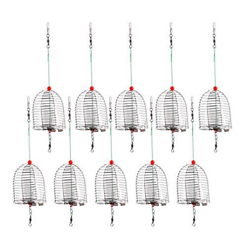 VOSAREA 10 Stücke Futterkorb Angeln Köder Käfig Trap Feederkorb Edelstahl Käfig Form Futterspirale Angelzubehör Feeder Korb für Fischteich Karpfenangeln Zubehör