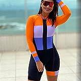 Triatlón traje traje ciclismo de mujer de manga larga ciclismo jumpsuit jumpsuit de ropa deportiva uniforme de ropa (Color : 6, Size : M)