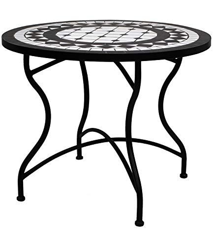 Tessa Home Mesa de forja y cerámica de 90 cm de diámetro con Mosaico en Negro y Blanco.