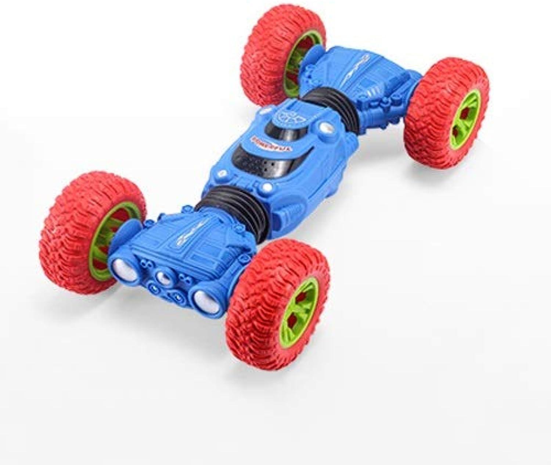 Tagke Junge Drahtlose Fernbedienung Auto Kinder Elektrische Spielzeug Allradantrieb Racing TIPP Verformung Gelndewagen Aufladen Fernbedienung Auto (Farbe   Blau, Gre   Five Batteries)