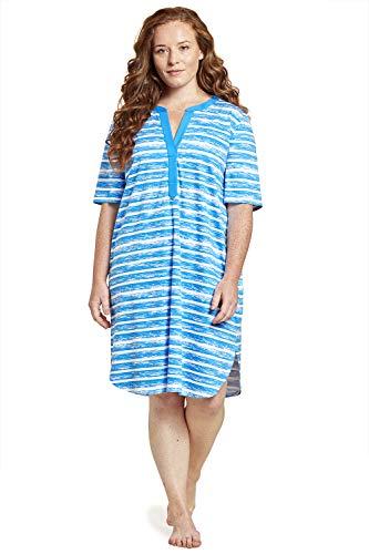 Rösch Damen Curve Bigshirt im Ringelprint - Arizona, 1204643 46 Ringlet Blue