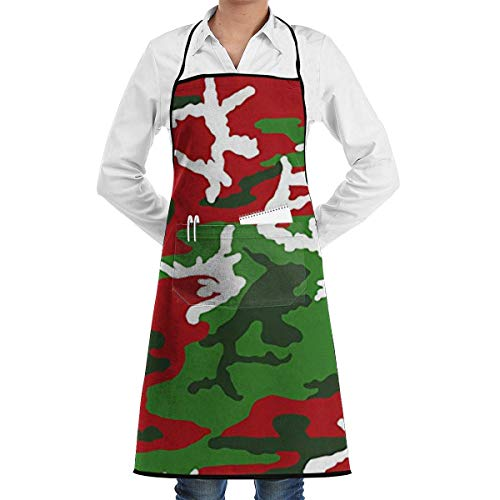 Christmas Woodland Camo Grill Aprons Kitchen Chef Bib Professional for BBQ Baking Cooking for Men Women Pockets