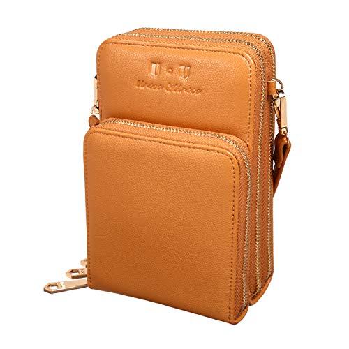 U+U Umhängetasche, klein, Leder, mit 3 Reißverschlüssen, RFID-Blockierung, Geldbörse mit mehreren Taschen, Braun - braun - Größe: Small