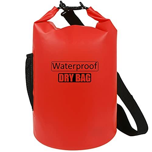 AILGOE Dry Bag 5L/10L/15L/20L/25L/30L/40L Leicht Wasserfester Rucksack/wasserdichte Tasche/Trockensack mit lang Verstellbarer Schultergurt für Boot und Kajak Wassersport Treiben(Rot ,15L)