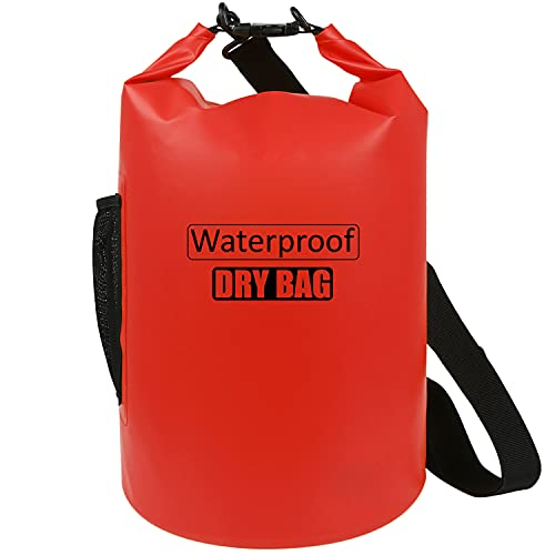 AILGOE Bolsa impermeable 5L/10L/15L/20L/25L/30L/40L, ligera bolsa seca con correa de hombro ajustable larga perfecta para la deriva/navegación/kayaking/pesca/rafting/natación/camping (rojo, 10L)