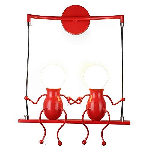 FSTH Einfache Wandleuchte Schwingen Metall Wandleuchte Kreatives Wandlampe Cartoon Lampe für Bar, Schlafzimmer, Küche, Restaurant, Café, Flur E27 (Rot-2)