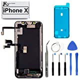 Full Screen Replacement OLED 3D Touch Assembly with Pre-Installed Ear Speaker and Proximity Sensor with Frame Adhesive and Repair Tools for iPhone X 5.8 inch
