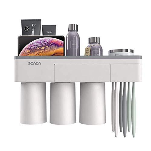 BBZZ Soporte magnético para cepillo de dientes, soporte de pared para cepillos de dientes eléctricos, ranuras para organizar cosméticos y cajones de baño (color: gris, tamaño: 32 x 10 cm)