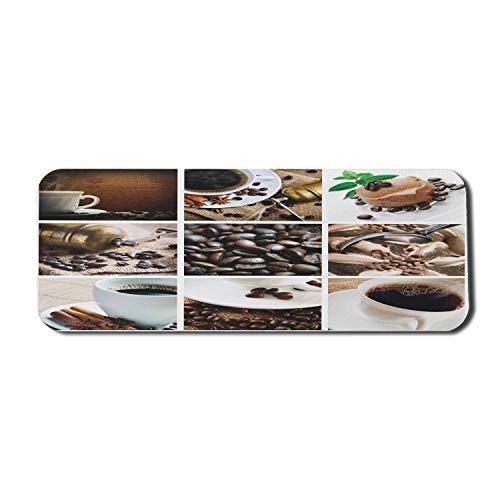 Kaffee Computer Mauspad, Collage aus Kaffee und Produkten Bohnen Wüsten Eis Zimt Heißgetränk, Rechteck rutschfest Gummi Mousepad groß dunkel und hellbraun