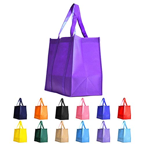 Gift Expressions Grocery Tote Bag | 10 Pack | Purple | Heavy Duty Large Gift Bags & Super Strong, Reusable Eco Friendly Shopping Bags, Stand Up Bottom, Recyclable Non Woven Tote Bags