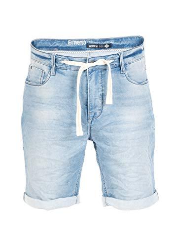 riverso Herren Jeans Shorts FRED Kurze Hose Sommer Bermuda Stretch Sweathose Baumwolle Blau W 33, Größe:W 33, Farbe:Light Used Blue (L114)