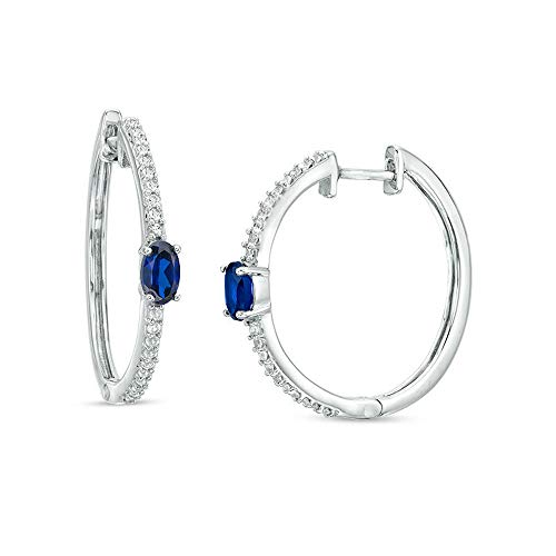 Ani's Pendientes de aro de diamante con zafiro azul y blanco y talla ovalada para mujeres y niñas en plata de ley 925