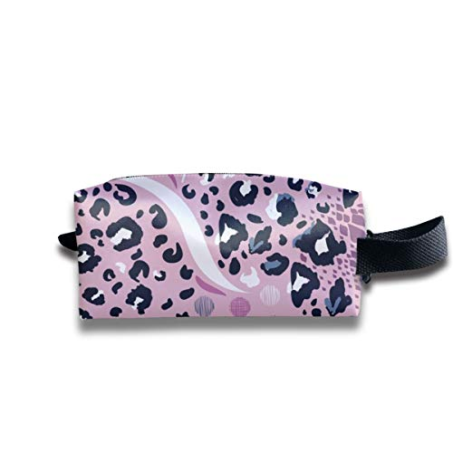 Travel Toiletry Pouch Leopard Print Pink Kit Make-up Bag with Handle