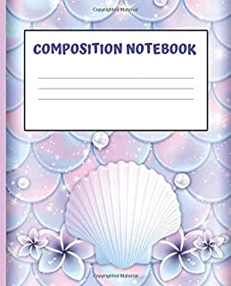 Composition Book: MERMAID SCALES:  Wide Ruled Notebook | School Subject Book Lined Student Journal | Pretty Pink Pastel Sea Shells Water Color | 100 ... Notes Planner| organizer | 7.5 x 9.25