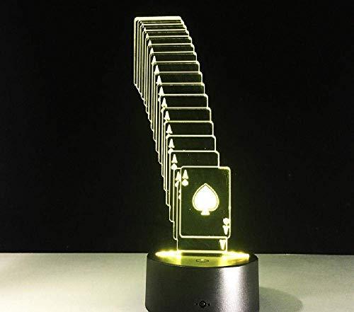 Faltbare Poker 3D LED Lampe Mehrfarbige Wickeltischlampe USB LED Batterielicht Casino 3D Illusion LED Licht Spielzeug Geschenk Remote Farbe