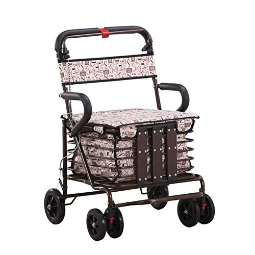 LSF Upright Walker Rolling Walker Walker Foldable Lightweight Portable Trolley Assisted Walking Shopping Basket with Wheels
