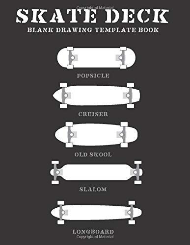 Skate Deck Blank Drawing Template Book: 8.5 x 11