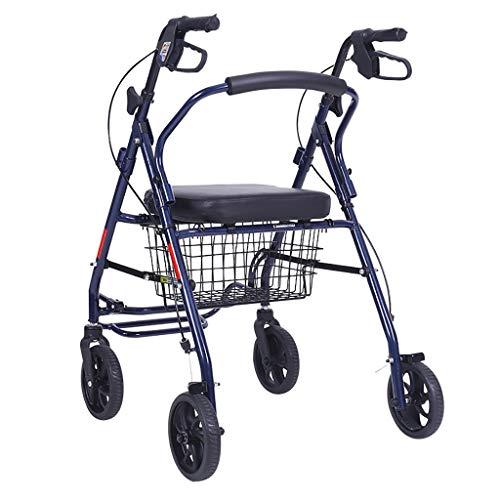 GWXTC Faltbarer Bollerwagen Alter Mann Klappwagen, Lebensmitteleinkaufswagen 4 Räder tragbar Kann sitzen Gehhilfe Ruhesitz Einkaufswagen bewegen, Belastung: 120 kg