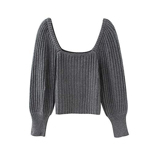 Vintage Mujeres Elegantes suéteres Grises de la Moda de Las señoras de Las señoras de Las señoras Pultos de Punto Casual Female Streetwear Suéter Lindas Chicas Chic (Color : Gris, Talla : Small)