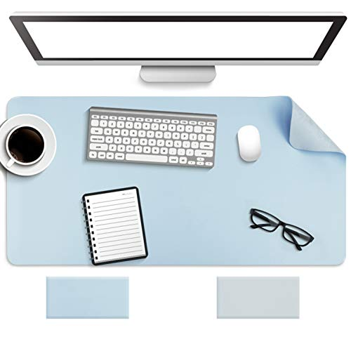 """Non-Slip Desk Pad,Mouse Pad,Waterproof PVC Leather Desk Table Protector,Ultra Thin Large Desk Blotter, Easy Clean Laptop Desk Writing Mat for Office Work/Home/Decor(Sky Blue, 31.5"""" x 15.7"""")"""