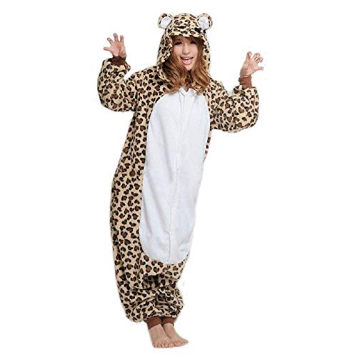 KRAZY TOYS Pijama Animal Entero Unisex para Adultos como Ropa de Dormir-Traje de Disfraz para Festival de Carnaval (Leopardo, M/L)