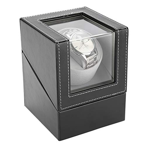 Enrollador de reloj automático, caja de reloj mecánica de cuerda automática de cuero de PU, vitrina de almacenamiento a prueba de polvo para un solo reloj, soporte de reloj de pulsera Caja de reloj ne