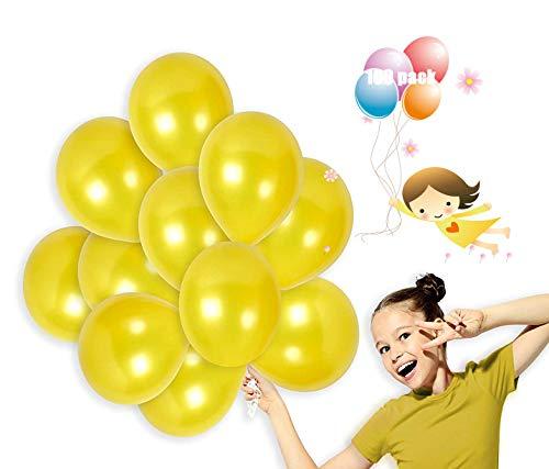 100 Piezas Globos Latex de colores variados para Bebe Año Cumpleaños,Niño Bautizos Comunion Baby Shower Azul,Bodas Aniversario Graduacion Fiesta Arco Decoracion (amarillo)