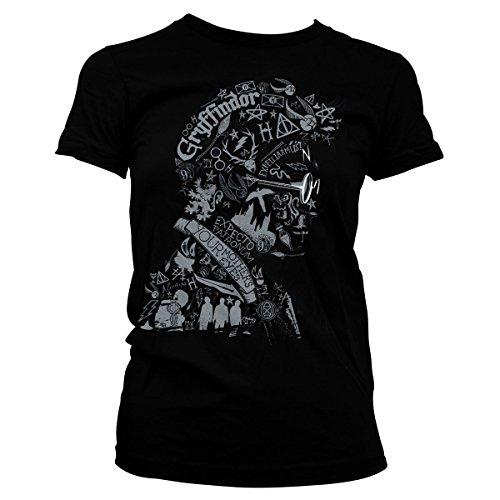 HARRY POTTER Oficialmente Licenciado Wordings and Symbols Mujer Camiseta (Negro), Large