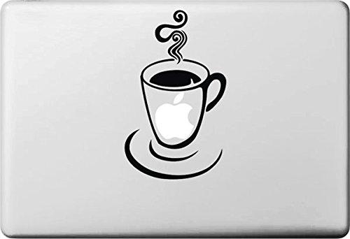 Vati Bladeren Verwijderbare Creatieve Een Beker Van Hete Koffie Sticker Huid Art Zwart voor Apple Macbook Pro Air Mac 13