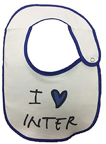 INTER bavaglino in cotone bianco i love inter bordato blu con automatico