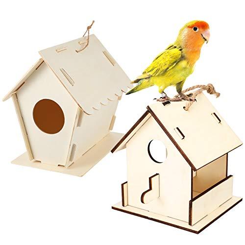 2 Set Casette Uccelli in Legno Fai da Te Kit Casa Uccelli Verniciabile Mangiatoia Uccelli in Legno Incompiuto Casa Uccelli da Montaggio Kit con Spago per Artigianato Decorazione Casa