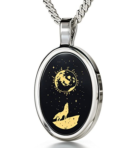 14k White Gold I Love You to the Moon and Back Necklace 24k Gold Inscribed with Howling Wolf and Stars onto an Black Onyx Gemstone Anniversary Pendant for Women, 18' 925 Sterling Silver Chain