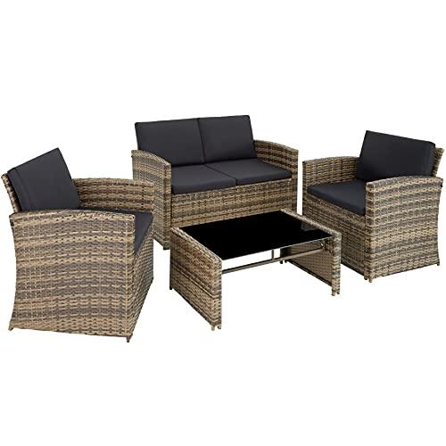 TecTake 800905 Polyrattan Sitzgruppe für 4 Personen, 12-teilig, Gartenmöbel Set mit Sofa, Sessel und Tisch, inkl. Sitz- und Rückenkissen, für Garten, Terrasse und Balkon (Natur)