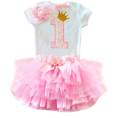 TTYAOVO Mädchen Neugeborenen Crown Tutu 1. Geburtstag 3 Stücke Outfits Strampler + Kleid + Stirnband Größe 1 Jahr Rosa 1
