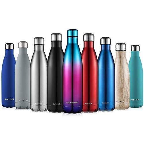 cmxing Doppelwandige Thermosflasche 500 mL / 750 mL mit Tasche BPA-Frei Edelstahl Trinkflasche Vakuum Isolierflasche (blau+lila, 750 mL)