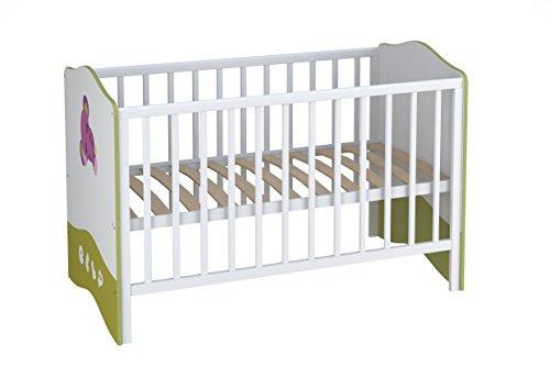 Kombi-Kinderbett Babybett Polini Basic Elly 140 x 70 weiß-grün Mitwachsend, Babybett ist umbaubar zum Jugendbett, 2-fach höh.