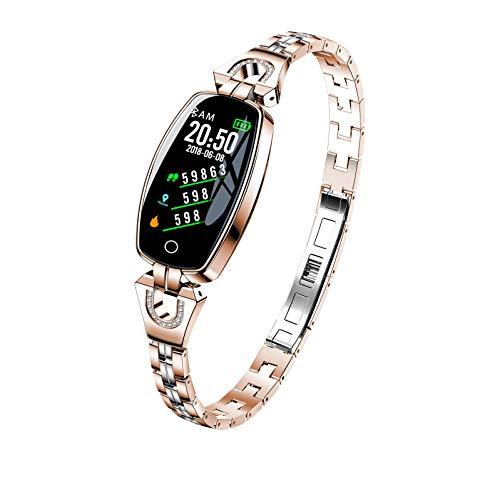 Smart Watch H8 Women's Waterproof Sports Watch Bracelet Call Vibration Alert Metal Heart Rate Pedometer, Smart Fashion Women's Watch Golden