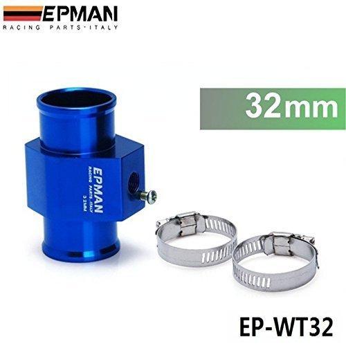 EPMAN Racing 32MM Water Coolant Temperature Sensor Water Temp Gauge Adapter 1.25Inch (Blue)