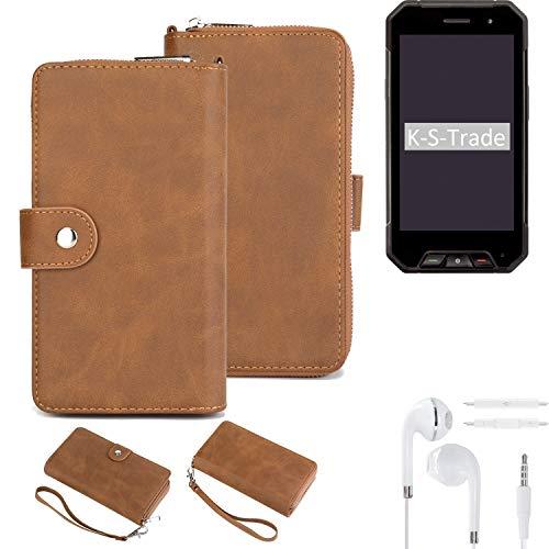 K-S-Trade Handy-Schutz-Hülle Für Cyrus CS 27 + Kopfhörer Portemonnee Tasche Wallet-Hülle Bookstyle-Etui Braun (1x)