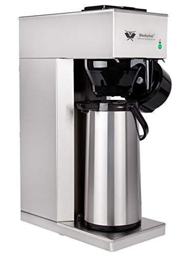 Beeketal 'BGK2-T' Gastro Edelstahl Filterkaffeemaschine mit 2,2l Pump-Thermoskanne (doppelwandig) und Warmhaltefunktion, Gastronomie Korbfilter Kaffeemaschine inkl. 10 Stk. Papier Korbfilter